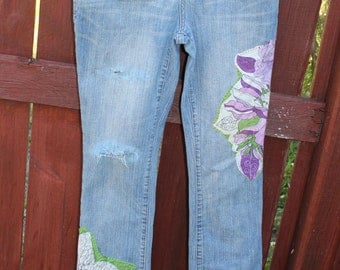 Upcycle destressed women's Jeans patched work and sashiko work, slim bootcut, 5S/C