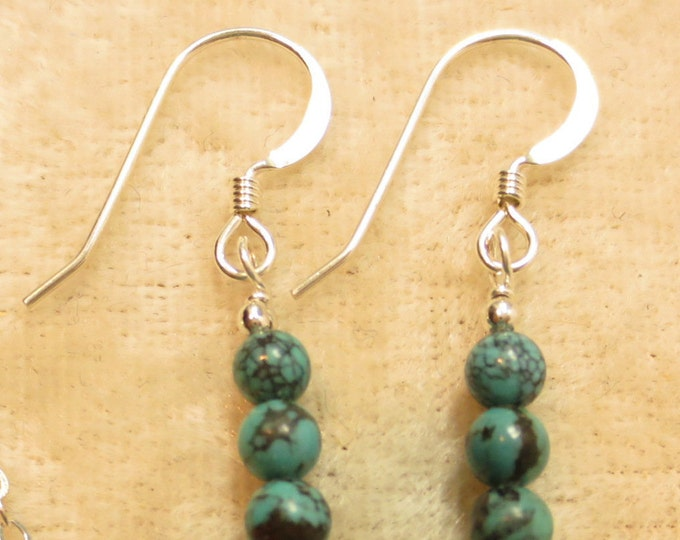 Triple Stacked 4 mm Turquoise Earrings on Sterling Silver or 14k Gold Fill