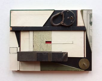 "Original Assemblage/ Collage, Paper, Wood, Metal, 7.75"" x 5.75"""