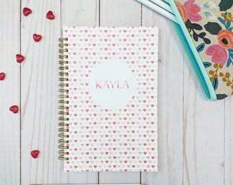 Personalized Valentine's Day Gift. Heart Notebook. Personalized Notebook. Valentines Day Gift. Valentines Day Notebook. Personalized Gifts.
