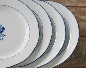 Vintage Mikasa Marin Blue and White Salad Plates Set of 4 Lunch Plates Wedding China Table Settings Replacement China