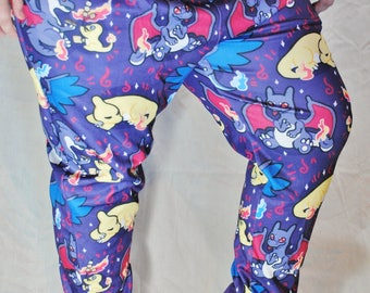 Shiny Charizard Pajama Pants! Stretchy & Comfy Jogger Style Pants with Drawstring and Pockets