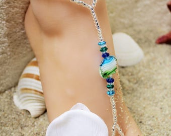 Barefoot Sandals Sea Breeze Beach Sandals Barefoot Sandals Blue Bikini Accessories Bottomless Sandal Foot Thong