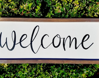 """Welcome, Framed Wood Sign 7""""x18"""", Rustic/Farmhouse Decor"""
