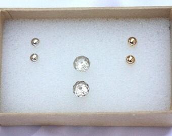 Stud Earring Set of 3 Pairs - Tiny Earrings, 3mm Earrings, Everyday Earrings, Nickel free ,Stud Earring Set, Goldfilled Stud Earrings