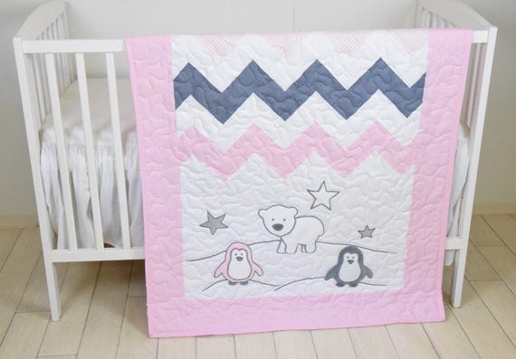 Penguin Crib Quilt, Pink Gray Handmade Crib Quilt for Baby Girl