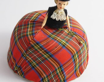 Vintage 1960s Tartan Doll Pincushion Ornament  Red and Black