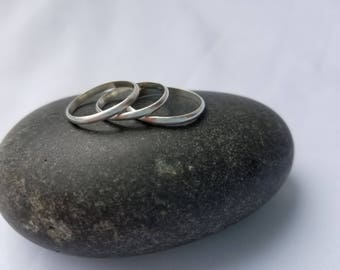 SET OF 3 THIN Stacking Rings. Tarnish Resistant Argentium Sterling Silver. 935 silver. Made to Order. Free shipping.