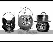 Instant Digital Download, Vintage Edwardian Graphic, Antique Halloween Pails, Cat Pumpkin Jack-O-Lanterns, Printable Scrapbook Image, Basket