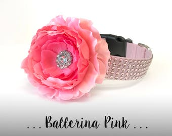 Light Pink Rhinestone Flower Dog Collar, Blush Pink Dog Collar Flower: Ballerina Pink