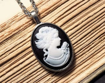Black and Silver Cameo Necklace