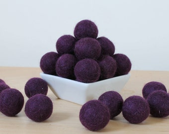 Felt Balls: EGGPLANT, Felted Balls, DIY Garland Kit, Wool Felt Balls, Felt Pom Pom, Handmade Felt Balls, Purple Felt Balls, Purple Pom Poms