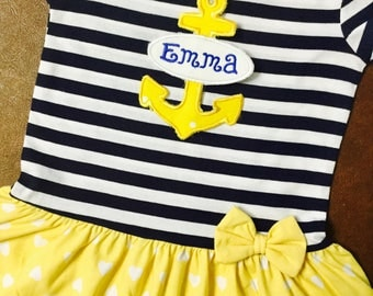 Girls Summer dress Monogrammed with Anchor, Toddler summer dress Personalized, or can be used as a Toddler Bathing suit cover up