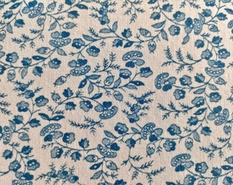 Vintage Blue and White Floral Tablecloth 52 inches wide by 83 inches long