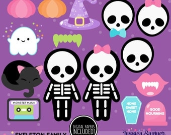 INSTANT DOWNLOAD - Skeleton Clipart or Halloween Clip art for personal and commerical use