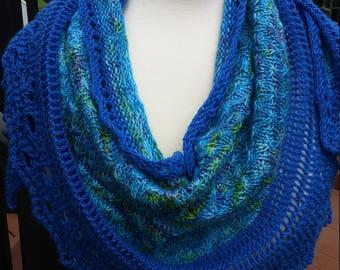Knit  Shawl featuring Star stitch- Blues and Greens