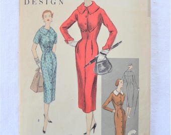 Vintage Vogue 4574 Special Design Dress Pattern Size 12 Bust 30 Hip 33 1954 - 55