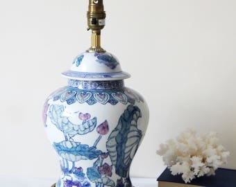 Vintage Chinoiserie Lamp - Large Vintage Ceramic Chinoiserie Chic Table Lamp on Wooden Base