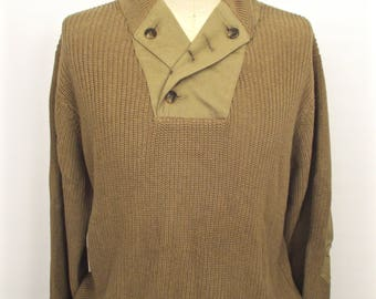 Orvis Outfitters Elbow Patches Shawl Collared Trapper Sweater / tan khaki brown button collar cotton camping sweater / men's large