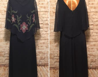 Vintage Maxi Dress with Cape // Vintage Dress with Sheer Floral Overlay // size small S