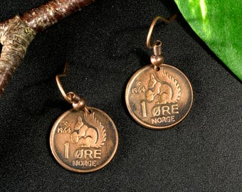 Earrings, coins, Norway, 1964, squirrel, steampunk, pirate