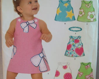 Baby Dress and Headband Easy New Look Pattern A6576 Uncut Sizes Newb orn to Large