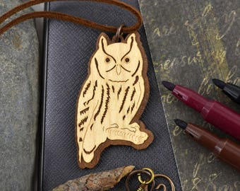 Wood Owl Necklace Laser Cut Walnut  Wood Pendant Wooden Owl Jewelry Unique gifts for men gift for husband birthday gift for boyfriend gift