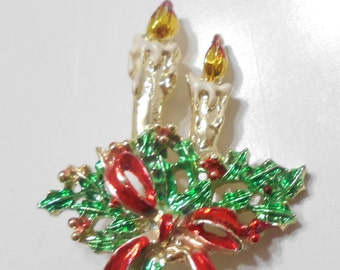Vintage Christmas Candles Brooch (517)