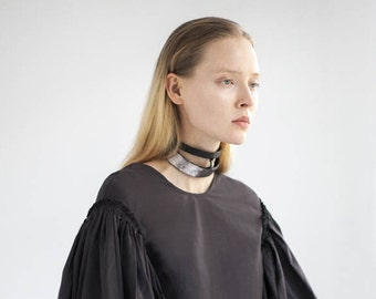 Double choker in silver black leather - Choker - Silver Necklace - Leather Necklace -Cage necklace