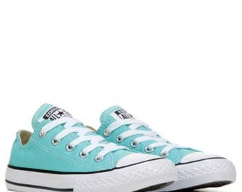 Converse Low Top Ladies Mens Light Aquamarine Tif Turquoise Blue Bling w/ Swarovski Crystal Rhinestone Chuck Taylor All Star Sneakers Shoes