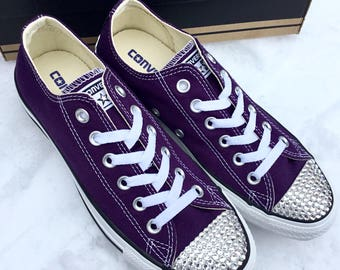Purple Converse Low Top Eggplant Peel Custom Bling Bridal Wedding Kicks w/ Swarovski Crystal Rhinestone Jewels Chuck Taylor All Star Shoes