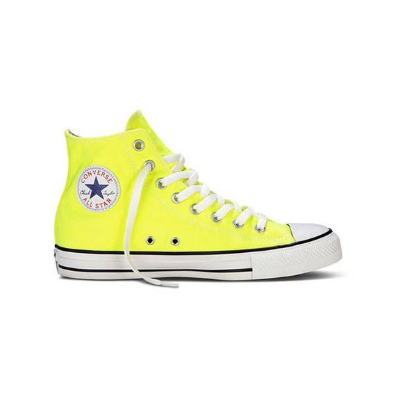 Yellow Converse High Top Electric Lemon Bright Bling Canvas w/ Swarovski Crystal Rhinestone Chuck Taylor All Star Sneakers Shoes