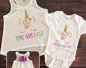 Big Sister Little Sister Shirts Girls Matching Shirt Mermaid
