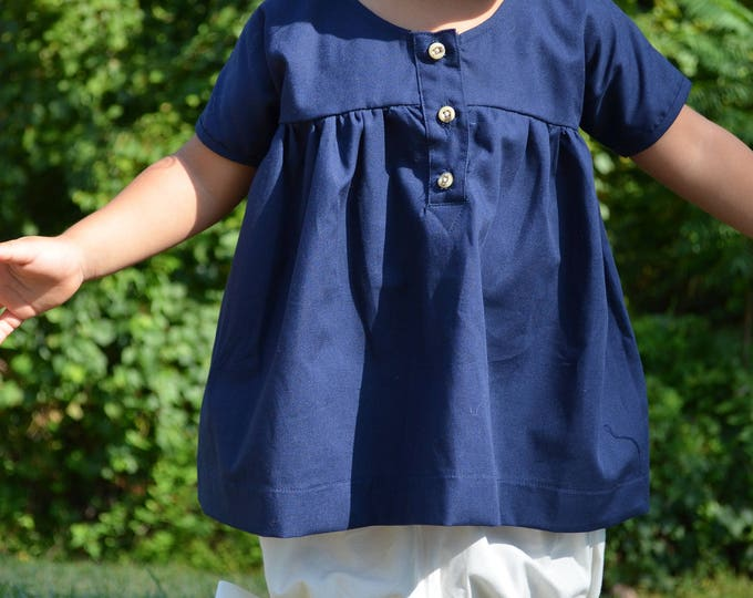 Girls Blue Dress - Size 6 to 12 month Baby Dress - Infant Organic Cotton Dress - Baby Clothes - Twirly Dress size 24 months - Girls Blouse
