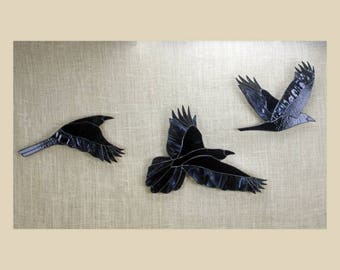 Stained Glass Ravens, Stained Glass Birds, Raven Art, Gothic, Crow, Stained Glass Wall Hanging, Raven Art, Crow Art, Glass Art