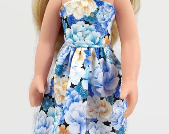 Beautiful Blue and Cream Floral Sundress - Made to Fit 14 Inch Dolls Like Wellie Wisher Doll Clothes