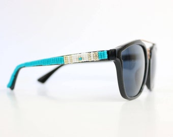 Black Frame Hand Beaded Turquoise Tribal Sunglasses - Native American Handcrafted