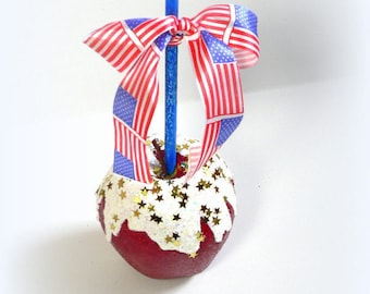Fake Candy Apple Fourth of July Patriotic Sparkling Fake Candy Apple Table Centerpiece Christmas Decoration Ornament