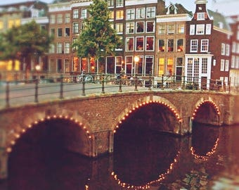 Amsterdam Photography, Urban Print, Bridge, City Lights, Canal Print, Europe, City Wall Art, Travel Photography, Amsterdam Art
