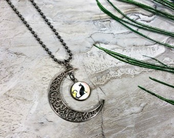 Moon Cat Necklace, Cat and Moon Pendant, Kitty Necklace, Cat Familiar, Cat Lover, Gift, For Women, For Her, Birthday Gift