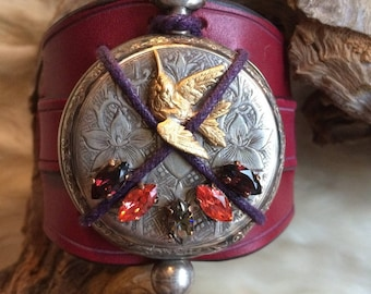 "Chic magic, leather, antique watch and ""Ex voto with Hummingbird"" swarovski crystal cuff"