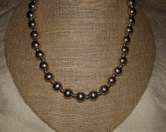 """Vintage Sterling Silver Bead Necklace 29"""" long 70 Grams"""