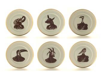 Anthropomorphic Art, General Animal, Set for 6, Wedding Table, Military Uniform, Goat Elephant, Altered Art, Vintage Plate China Porcelain