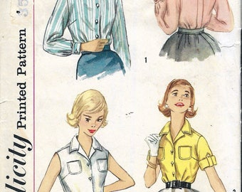 """Vintage 1958 Simplicity 2470 Teen Age Blouse Sewing Pattern Size 14 Bust 34"""""""