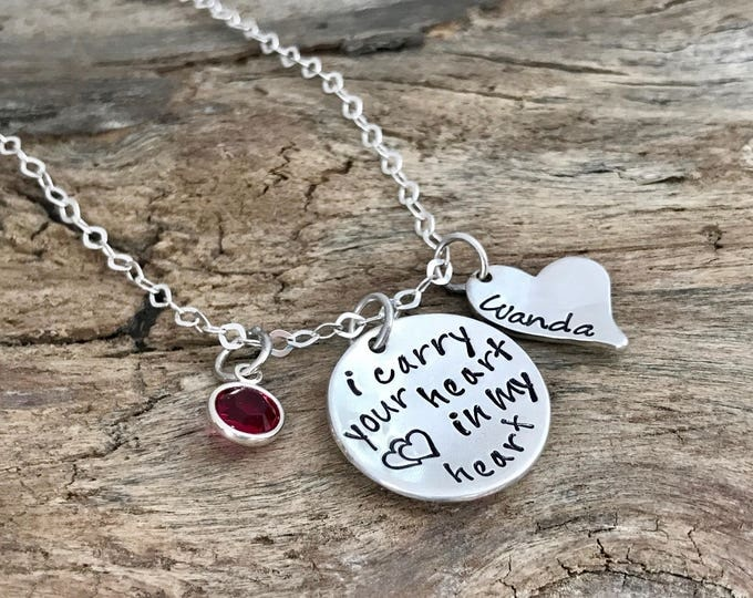 I Carry Your Heart Necklace | ee cummings I carry your heart |  Remembrance Gifts | Loss of parent necklace | I carry your heart in my heart