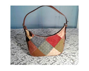 Leather Patchwork Purse, Fossil Jacquard Satchel, Leather Patchwork Hobo Handbag, Zip-Top Multi Color Leather Purse, Small Satchel Purse