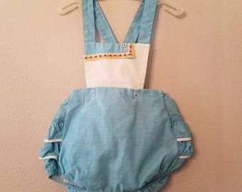 Vintage 1950s Girls Blue  Playsuit Romper with Blouse and Detachable Bloomers - Size 6-12 months- Gently Worn