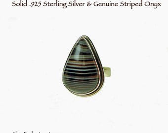 Striped Onyx Ring Size 6, Banded Onyx Natural Gemstone Ring, Minimalist Onyx Ring, .925 Silver Teardrop Minimalist Ring Gift for Her GSP401X