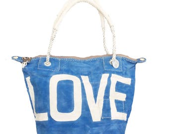 Ali Lamu Small Weekend Bag Blue LOVE Natural