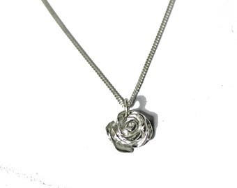 English Rose                                                                              - silver rose necklace